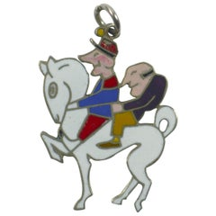 Van Cleef & Arpels Horse Enamel Platinum Charm Pendant
