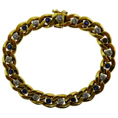 Van Cleef & Arpels Italy 18k Yellow Gold Sapphire and Diamond Curb Link Bracelet
