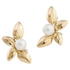 Van Cleef & Arpels Ladies 18kt Gold Clip-On Earrings with Natural Akoya Pearls