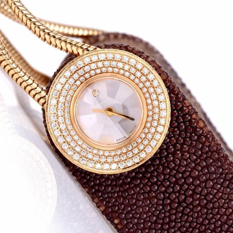 Van Cleef & Arpels Ladies Yellow Gold Diamond VCA Wristwatch For Sale 2