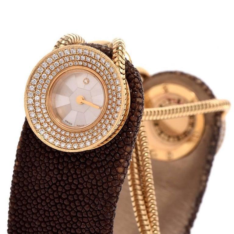 Van Cleef & Arpels Ladies Yellow Gold Diamond VCA Wristwatch For Sale 4