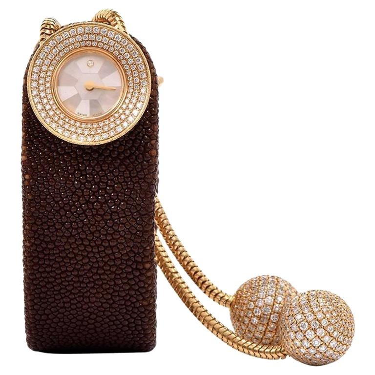 Van Cleef & Arpels Ladies Yellow Gold Diamond VCA Wristwatch For Sale