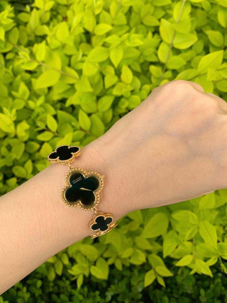 Uncut Van Cleef & Arpels Lady's Black Onyx 18k Yellow Gold Alhambra Watch For Sale