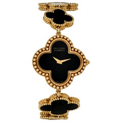 Van Cleef & Arpels Lady's Black Onyx 18k Yellow Gold Alhambra Watch