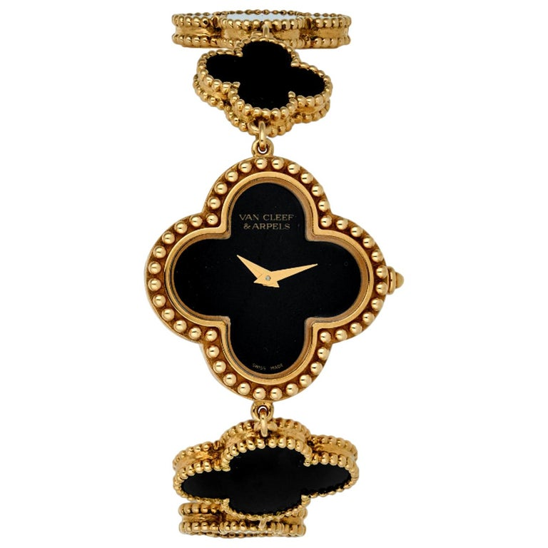 Van Cleef & Arpels Lady's Black Onyx 18k Yellow Gold Alhambra Watch For Sale