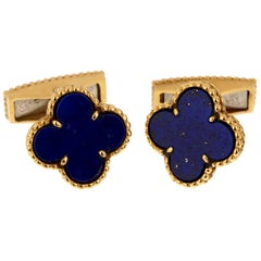 Van Cleef & Arpels Lapis Alhambra Yellow Gold Cufflinks