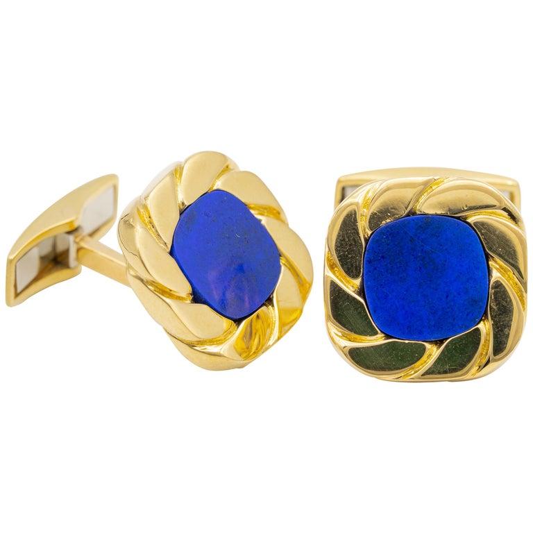 Van Cleef & Arpels Lapis and 18 Karat Gold Cufflinks For Sale