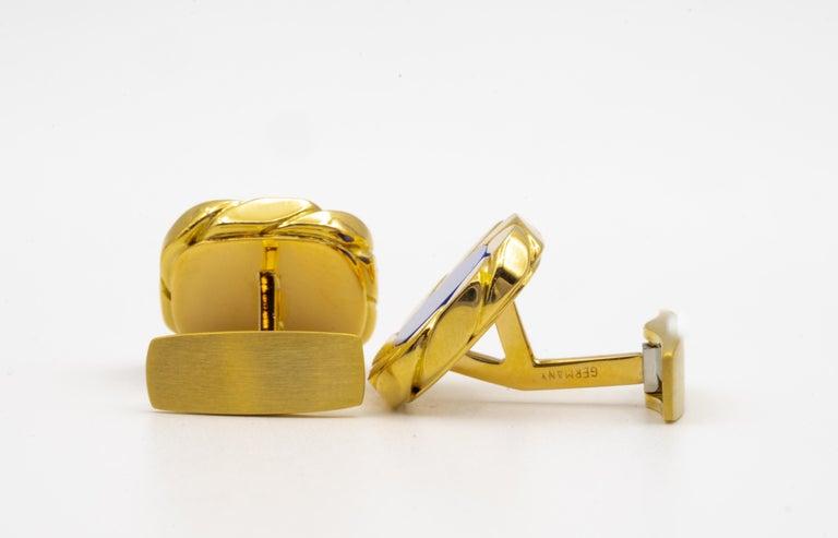 Van Cleef & Arpels Lapis and 18 Karat Gold Cufflinks For Sale 2