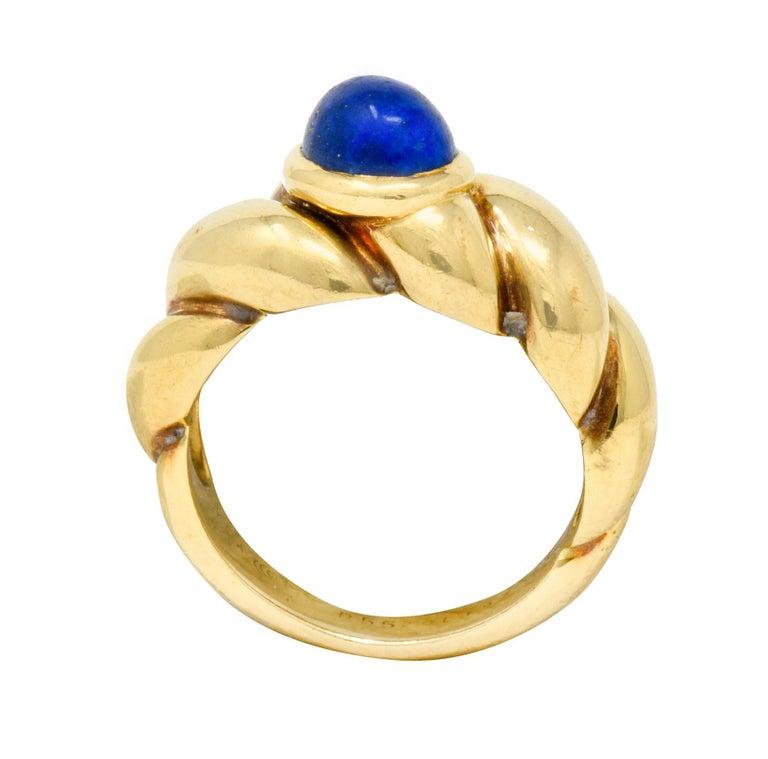 Van Cleef & Arpels Lapis Cabochon 18 Karat Gold Twisted Band Ring For Sale 5