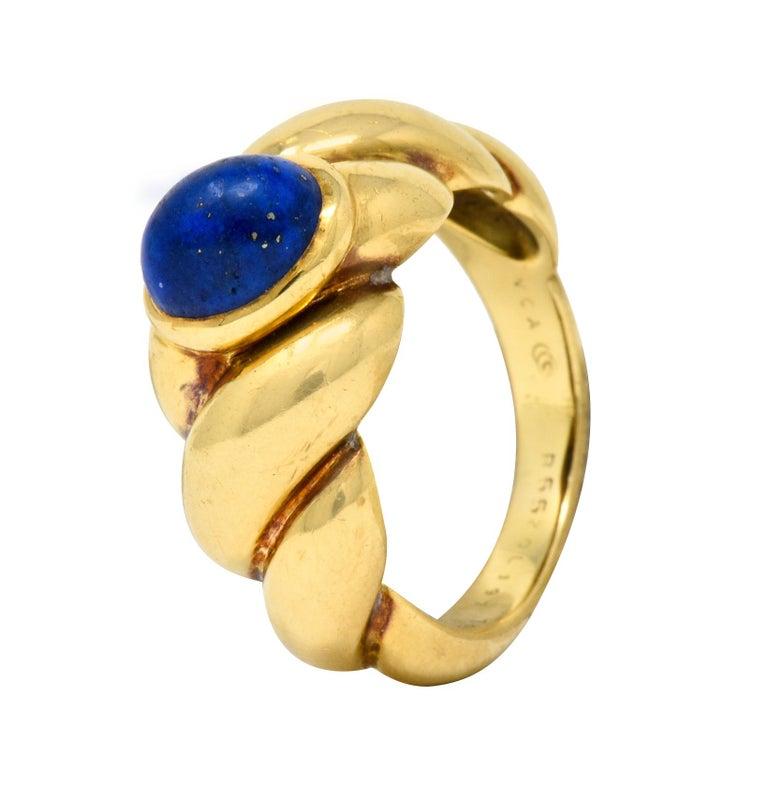 Van Cleef & Arpels Lapis Cabochon 18 Karat Gold Twisted Band Ring For Sale 6