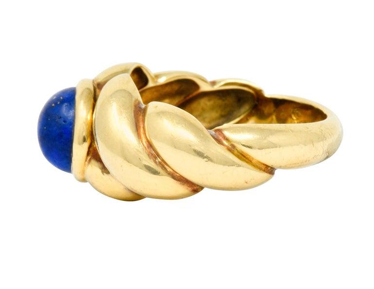 Women's or Men's Van Cleef & Arpels Lapis Cabochon 18 Karat Gold Twisted Band Ring For Sale
