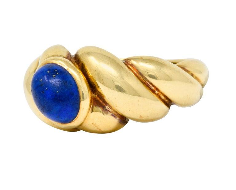 Van Cleef & Arpels Lapis Cabochon 18 Karat Gold Twisted Band Ring For Sale 1