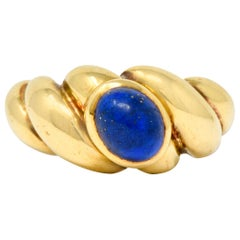Van Cleef & Arpels Lapis Cabochon 18 Karat Gold Twisted Band Ring
