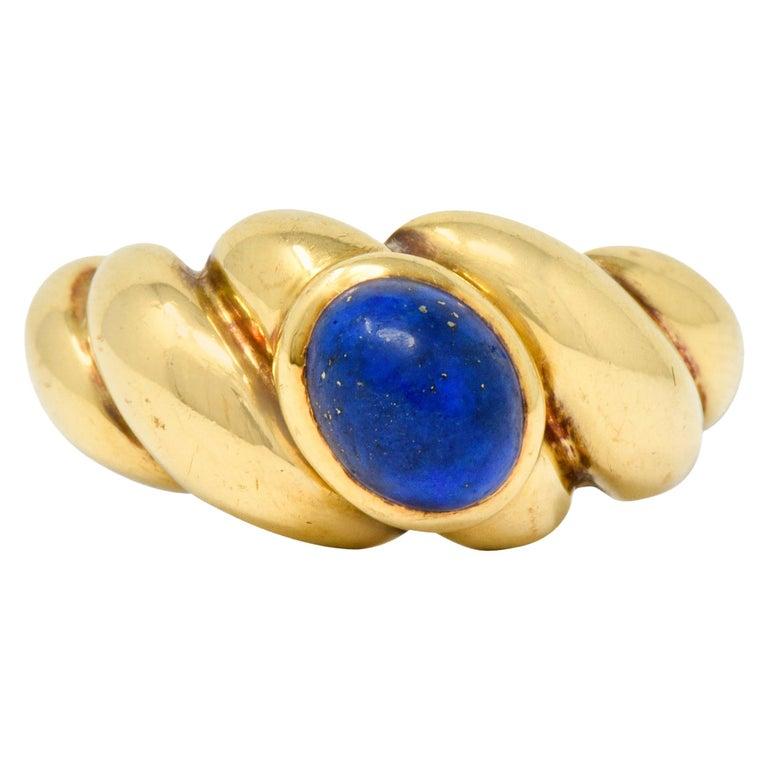 Van Cleef & Arpels Lapis Cabochon 18 Karat Gold Twisted Band Ring For Sale