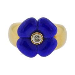 Van Cleef & Arpels Lapis Diamond Flower Gold Ring