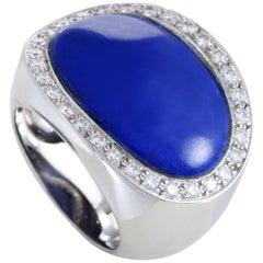 Van Cleef & Arpels Lapis Lazuli 1.00 Carat Diamond 18 Karat White Gold Ring