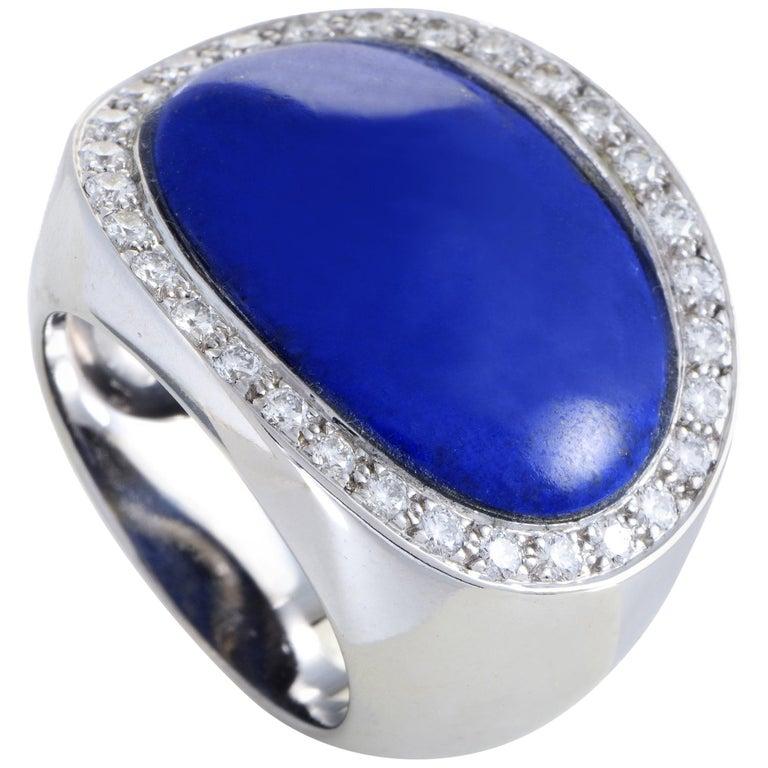 Van Cleef & Arpels Lapis Lazuli 1.00 Carat Diamond 18 Karat White Gold Ring For Sale