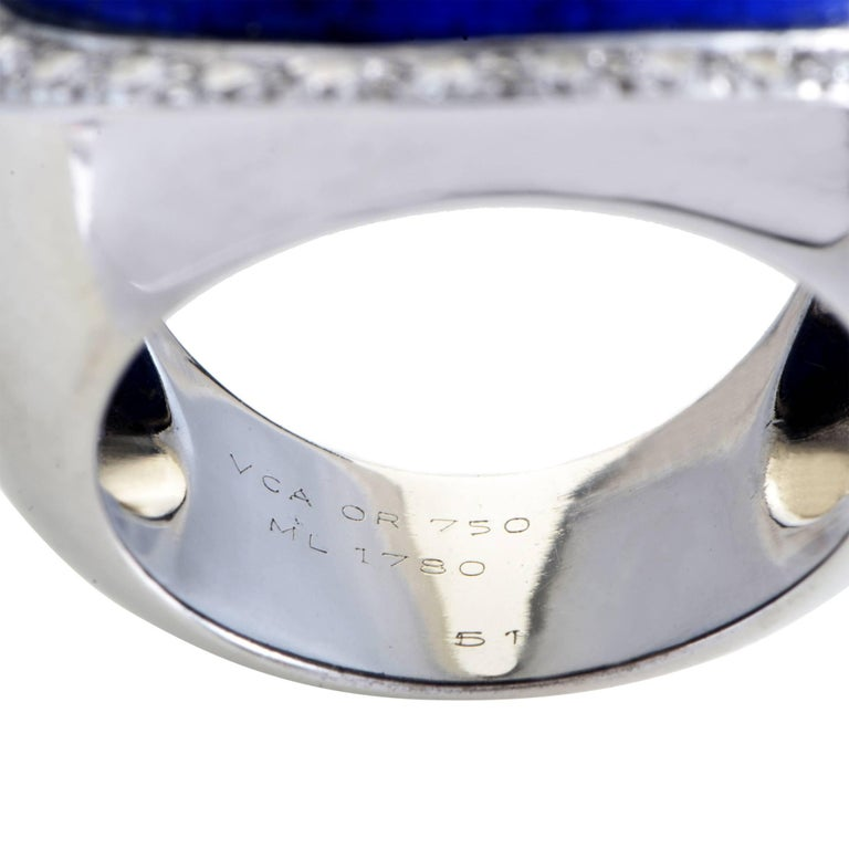 Van Cleef & Arpels Lapis Lazuli 1.00 Carat Diamond 18 Karat White Gold Ring In Excellent Condition For Sale In Southhampton, PA