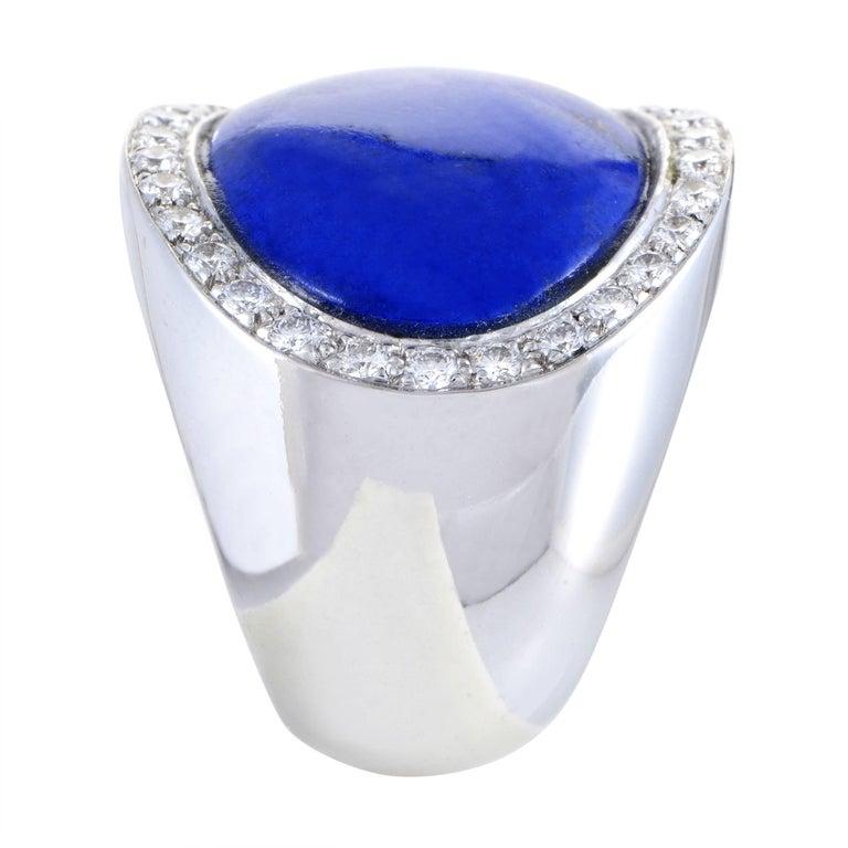 Women's Van Cleef & Arpels Lapis Lazuli 1.00 Carat Diamond 18 Karat White Gold Ring For Sale