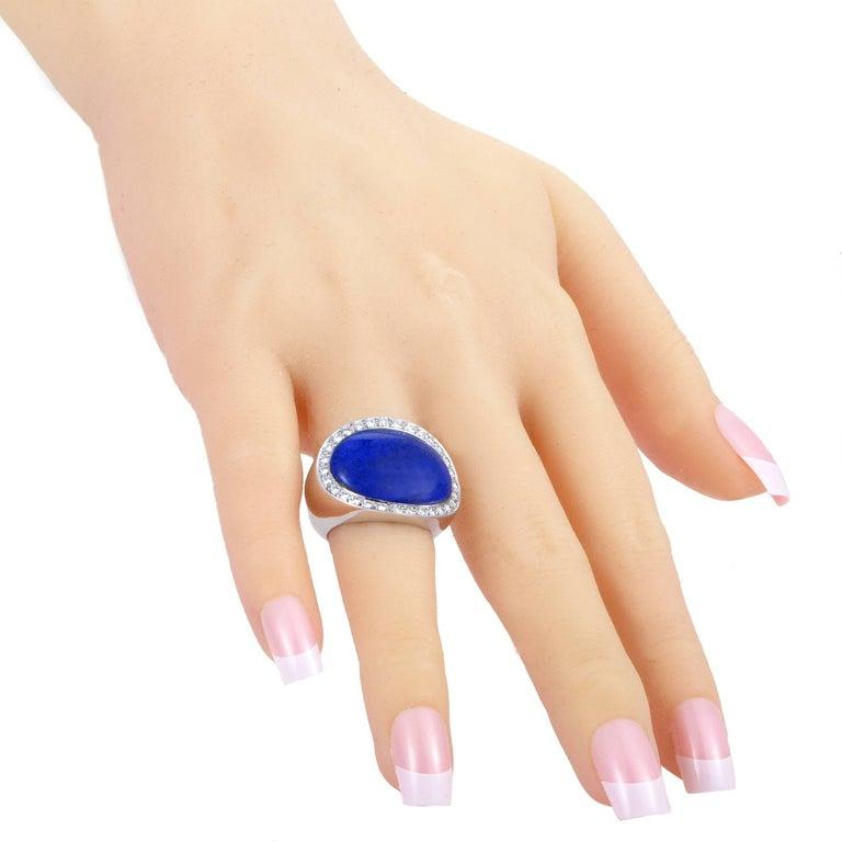 Van Cleef & Arpels Lapis Lazuli 1.00 Carat Diamond 18 Karat White Gold Ring For Sale 1