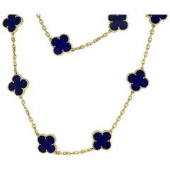 Van Cleef & Arpels Lapis Lazuli 18 Karat Gold Vintage Alhambra Long Necklace