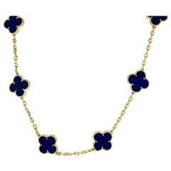 Van Cleef & Arpels Lapis Lazuli 18 Karat Gold Vintage Alhambra Long Necklace