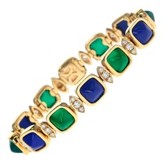 Van Cleef & Arpels Lapis Lazuli and Chrysoprase Bracelet, French