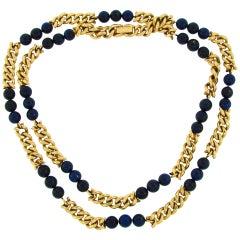 Van Cleef & Arpels Lapis Lazuli Bead Gold Necklace, 1970s VCA