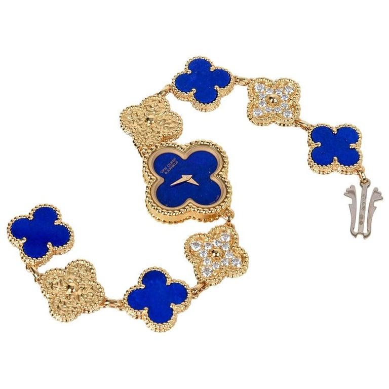 Van Cleef & Arpels Lapis Lazuli / Diamond Sweet Alhambra Watch 18 Karat Limited For Sale