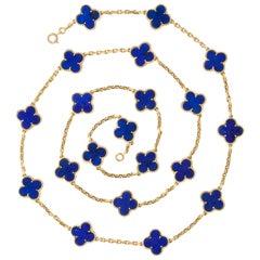 Van Cleef & Arpels Lapis Lazuli Gold Vintage Alhambra 20 Motif Necklace