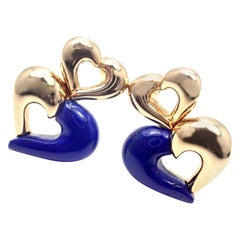 Van Cleef & Arpels Lapis Lazuli Heart Shape Yellow Gold Earrings