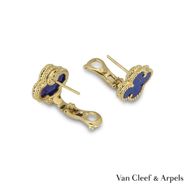 Van Cleef & Arpels Lapis Lazuli SweetAlhambra Earrings In Excellent Condition In London, GB