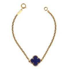 Van Cleef & Arpels Lapis Vintage Alhambra Gold Bracelet