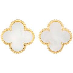 Van Cleef & Arpels Large Alhambra 18 Karat Gold Mother of Pearl Omega Back