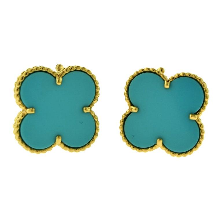 Van Cleef & Arpels Large Magic Alhambra Turquoise 18 Karat Gold Earrings, Rare For Sale