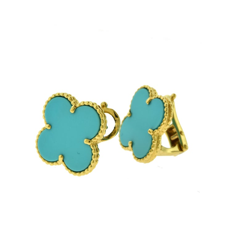 Designer: Van Cleef & Arpels  Collection: Magic Alhambra  Style: 1 Motif Studs  Stones: Turquoise Onyx   Metal Type: Yellow Gold  Metal Purity: 18k  Total Item Weight (grams): 10.6  Earring Dimensions: 17.15 mm x 19.93 mm  Closure: Omega Post Backs
