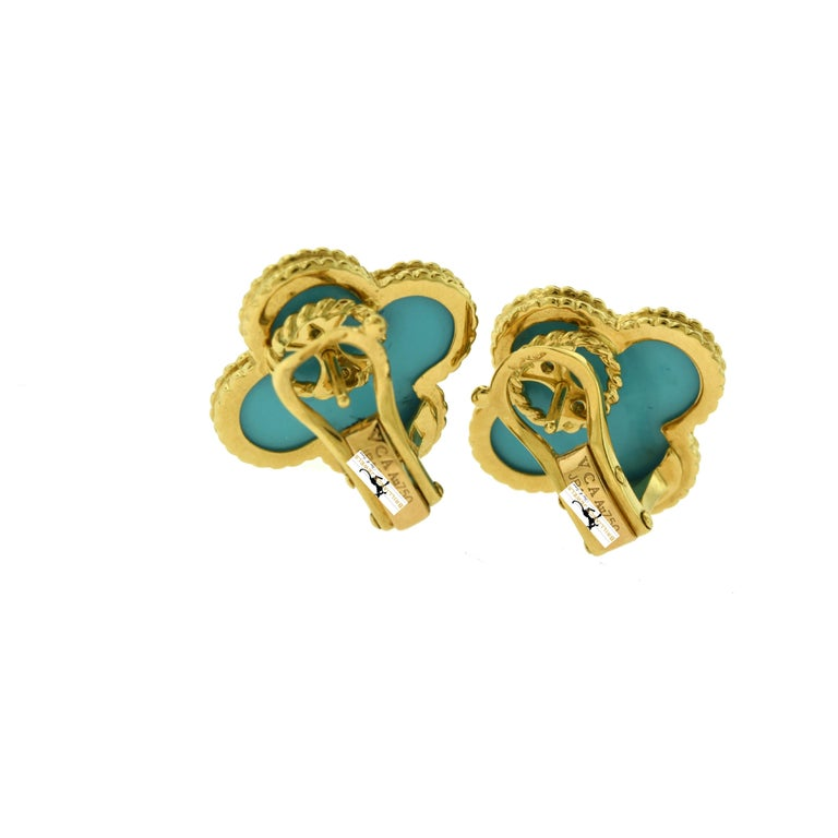 Van Cleef & Arpels Large Magic Alhambra Turquoise 18 Karat Gold Earrings, Rare In Good Condition For Sale In Miami, FL