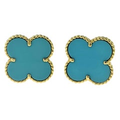 Van Cleef & Arpels Extra Large Magic Alhambra Turquoise Yellow Gold Earrings New