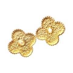 Van Cleef & Arpels Large Vintage Alhambra Yellow Gold Earrings