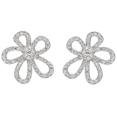 """Van Cleef & Arpels Large White Gold Diamond """"Flowerlace"""" Earrings"""