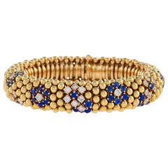 "Van Cleef & Arpels Late 1940s Diamond and Sapphire ''Lawn"" Bracelet"