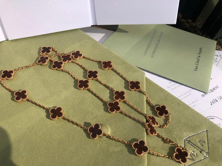 Women's or Men's Van Cleef & Arpels Letterwood Gold Vintage Alhambra 20 Motif Necklace