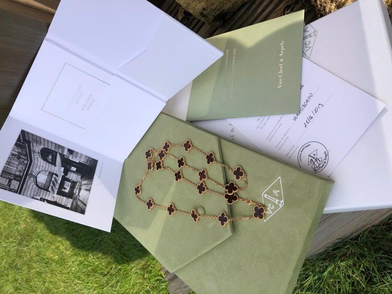 Van Cleef & Arpels Letterwood Gold Vintage Alhambra 20 Motif Necklace 2