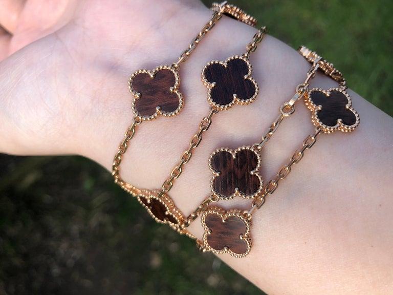Van Cleef & Arpels Letterwood Gold Vintage Alhambra 20 Motif Necklace 3