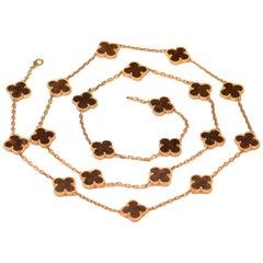 Van Cleef & Arpels Letterwood Gold Vintage Alhambra 20 Motif Necklace
