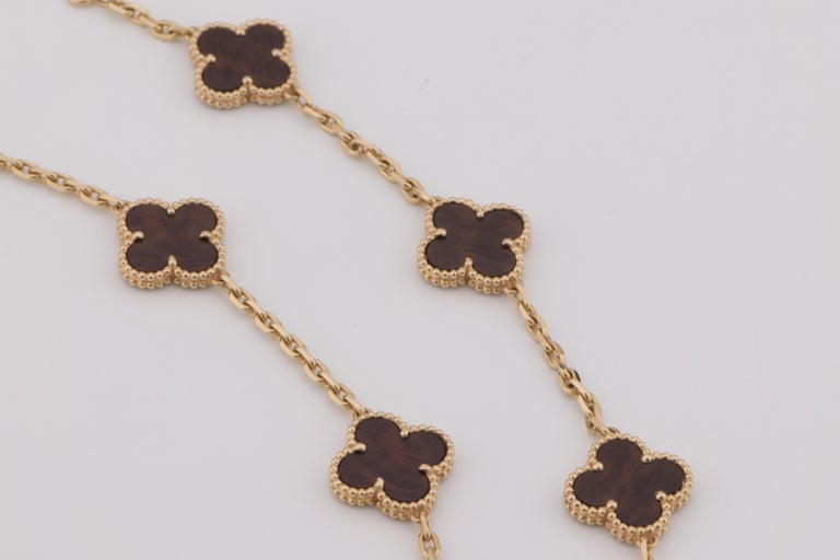 Van Cleef & Arpels Letterwood Vintage Alhambra 20 Motif Necklace 3