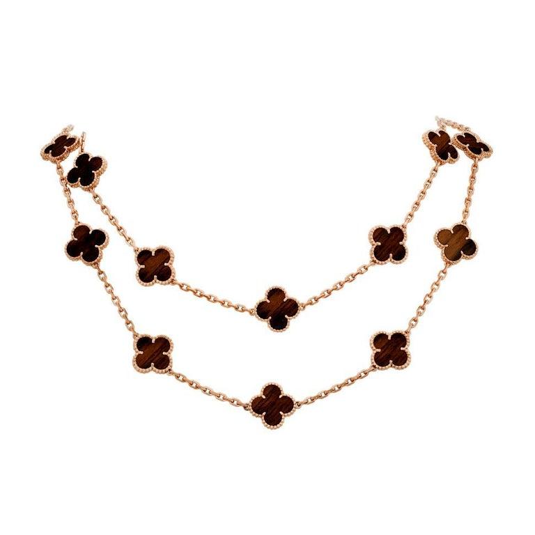 Van Cleef & Arpels Letterwood Vintage Alhambra 20 Motif Necklace