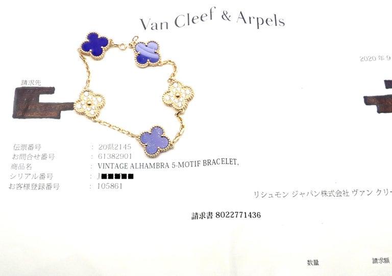 Van Cleef & Arpels Limited Edition Vintage Alhambra Diamond Lapis Gold Bracelet For Sale 5