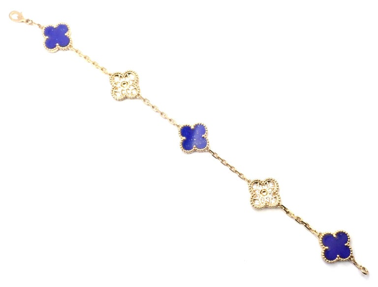 Van Cleef & Arpels Limited Edition Vintage Alhambra Diamond Lapis Gold Bracelet For Sale 6