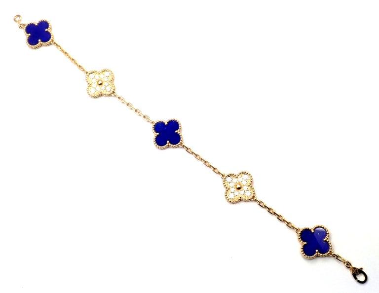 Van Cleef & Arpels Limited Edition Vintage Alhambra Diamond Lapis Gold Bracelet For Sale 7